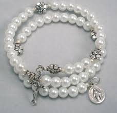 rosary bracelets five decade coil rosary bracelet white glass pearl communion