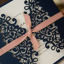 navy and blush wedding invitations formal navy blue laser cut wedding invitation cards with band