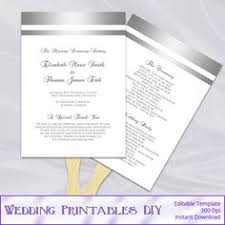 make your own wedding fan programs printable wedding program fan template editable