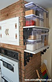 no pantry but wall mount shelves allow for food storage