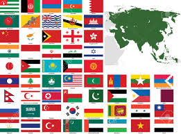 Flags Countries Set Of Flags And Maps Of All Asian Countries And Dependent