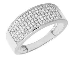 gold diamond band men s 6 row pave diamond band ring 10k white gold 85 ct 9mm