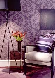 interior wall pattern design rukle purple with white bed and fas