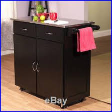 Portable Kitchen Storage Cabinets Modern Kitchen Cart Stainless Steel Top Portable Island Black