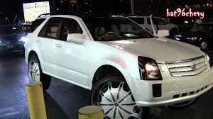 rate cadillac srx pearl white cadillac srx truck on rockstarrs 30 s in parking lot