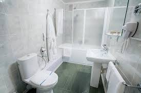 modern hotel bathroom interior of a modern hotel bathroom stock photo milkos 105292142