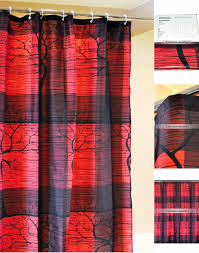 Red Shower Curtain Hooks Tree Patterns Black And Red Shower Curtain