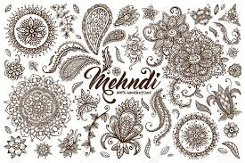 big set of drawn mehndi elements collection of oriental indian