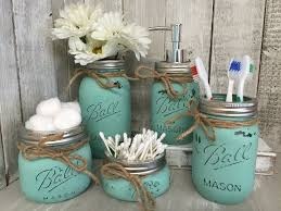 mason jar bathroom vanity set set of 5 jars seaglass painted