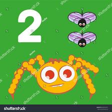 2 numbers kids set cute spider stock vector 384955051 shutterstock