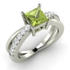 peridot engagement ring darelena engagement ring with princess cut peridot i