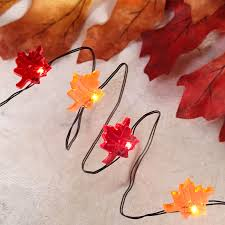 battery operated lights with timer fall leaves led micro string lights