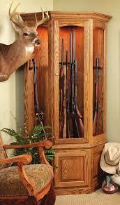 Wood Gun Cabinet Entrancing Wooden Corner Cabinets With Light Oak Wood Polish For
