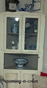 open face farmhouse corner cabinet corner hutch repurposed and