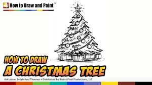 how to draw christmas tree decorations cartoon christmas tree