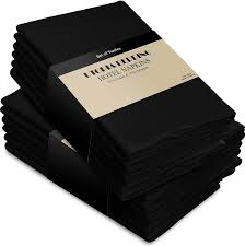 cotton dinner napkins black 12 pack 18 inches x18