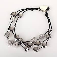 multi heart bracelet images Equilibrium silver multi hearts leather bracelet temptation gifts jpg