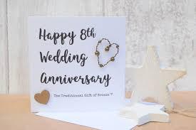 8th wedding anniversary bronze script card florence
