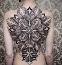 Large Flower Tattoos On - 4 grey ink back tattoos by chaim machlev
