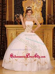 gold quince dresses dreamy white strapless quinceanera gown with gold appliques 172 59