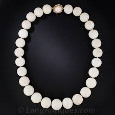 large bead necklace images Large white coral bead necklace jpg