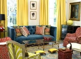 Yellow And Blue Curtains White Wall With Glass Windows And Yellow Curtains Combined