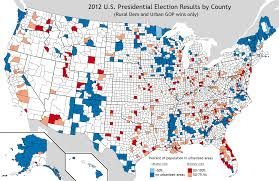 Map Of Election Results by Rural Democratic And Urban Republican Counties In 2012 Us