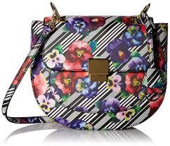 aldo fiscus saddle cross body bag black white handbags amazon com