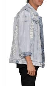 light distressed denim jacket the graffiti distressed denim jacket in light indigo