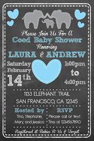 couples baby shower printable elephant theme coed couples baby shower invitation