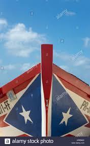 Puertorican Flag Puerto Rican Flag Painted Yola Fishing Boat Crash Boat Beach Stock