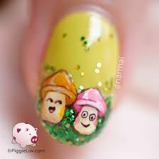 piggieluv spring mushrooms nail art