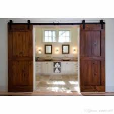 Sliding Door Wood Double Hardware by 2018 12ft Antique Black Wooden Double Sliding Barn Closet Door