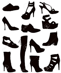 isolated ladies footwear black on white shoes boots sandals