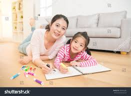 Asian Wooden Floor Happy Asian Little Painting Drawing Stock Photo 592441265