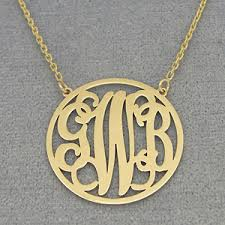 monogram necklace gold solid gold 3 initials circle monogram necklace 1 inch diameter