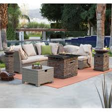 Patio Furniture With Fire Pit Set - belham living marcella all weather wicker 50 in fire pit chat set