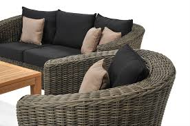 patio grey rattan with dark black cuhsion wicker patio set for