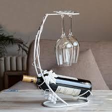 vintage wine holder grape vine metal wine rack glass cups hanging
