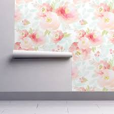 Pink Removable Wallpaper by Floral Wallpaper Pink Plush Florals A By Indy Bloom Design