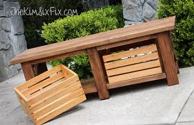 x leg wooden bench with crate storage for under 40 the kim six fix