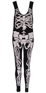 Halloween Skeleton Bodysuit Ladies Girls Jumpsuit Halloween Skeleton Bodycon Dress Leggings