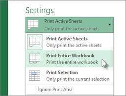 print a worksheet or workbook excel