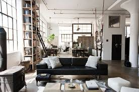 furniture casual industrial living room with dark grey sofa and