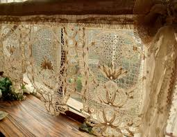 Old Fashioned Lace Curtains by Tea Stained Antique Vintage Lace Valance With Bow Burlap