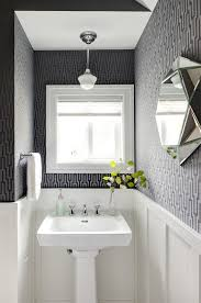Toile Bathroom Wallpaper by Toile Wallpaper Black With Compact Powder Room Powder Room