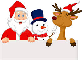santa claus reindeer and snowman with blank sign stock