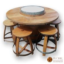 zin firepit u0026 4 zin bar stools natural finish wine barrel