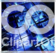 clipart illustration of a blue and glowing 3d loft apartment floor