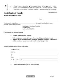 resale certificate verification printable governmental templates